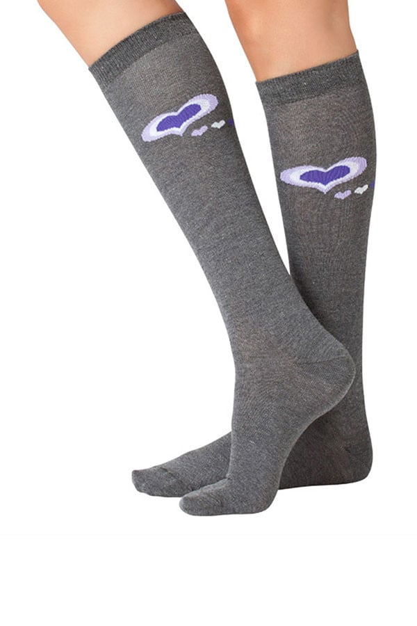 Lucci Grey Hearts Calf High Sock