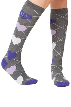 Lucci Grey Love Calf High Sock