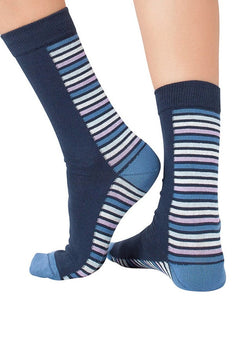 Lucci Navy Back Lines Crew Sock