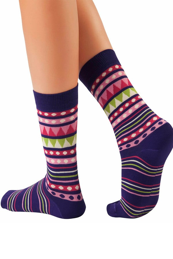 Lucci Purple New Age Crew Sock