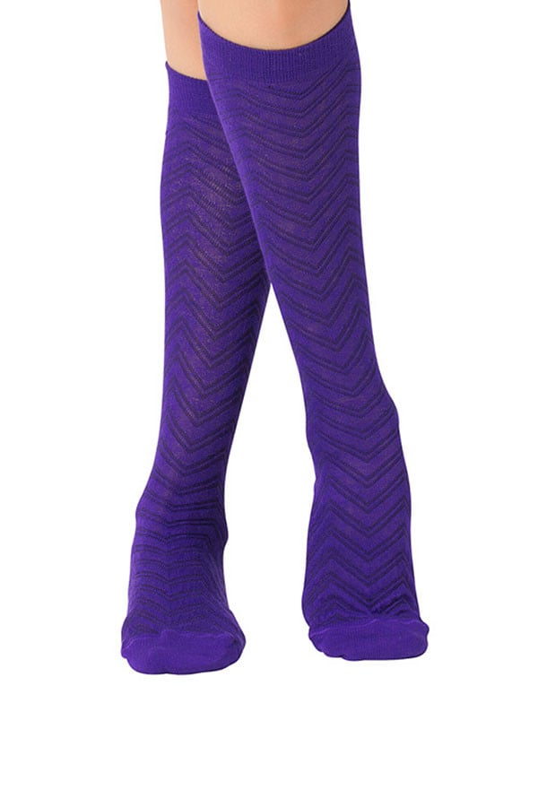 Lucci Purple Textured Calf High Sock