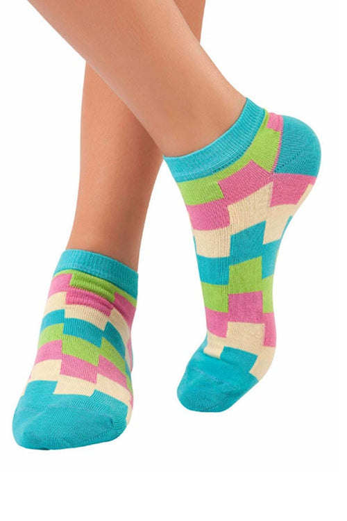 Lucci Turquoise Carnival Low-Cut Sock - CheapUndies.com