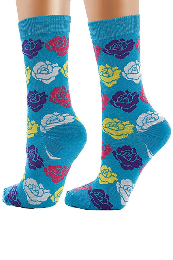 Lucci Turquoise Roses Crew Sock