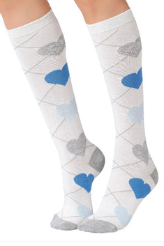 Lucci White Love Calf High Sock
