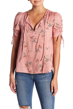 Lucky Brand Pink Puff-Sleeve Printed Top