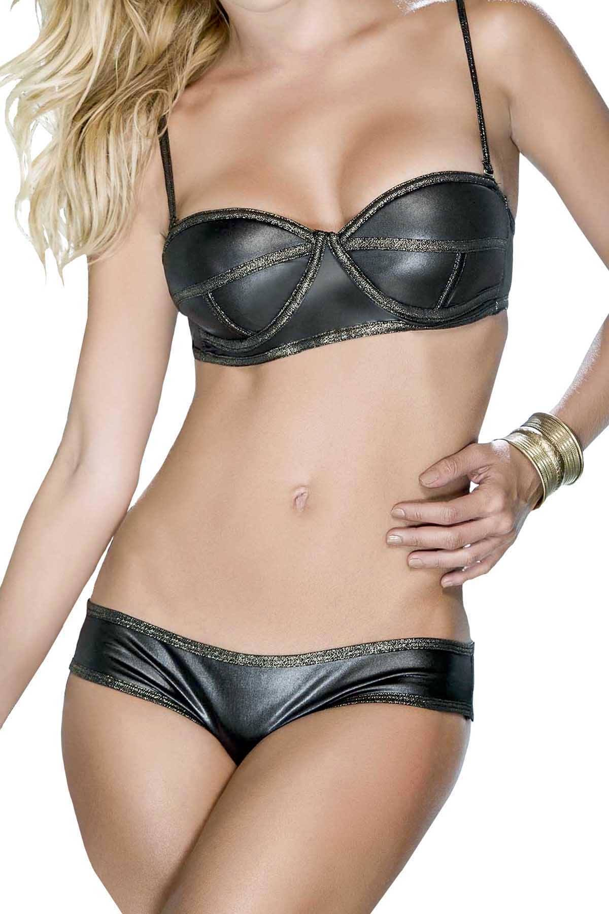 2933711f177f24 Mapale 2pc Black & Gold Lingerie Set | CheapUndies