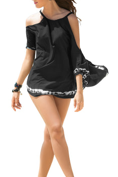 Mapale Black Cold Shoulder Shortie Beach Dress