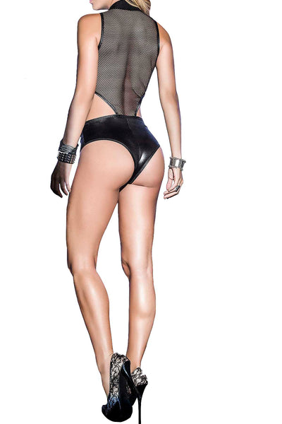 Mapale Black Wet-Look Deep-V Bodysuit