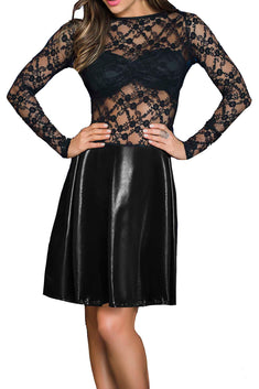 Mapale Black Wet-Look Leather & Lace Long Sleeve Dress