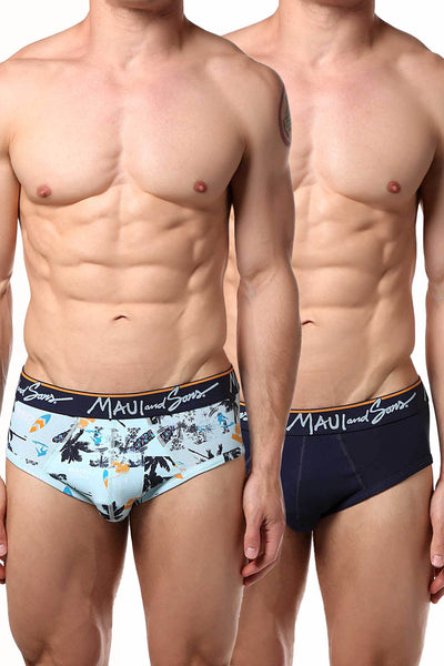 Maui and Sons Blue/Surfboards Cotton-Stretch Brief 2-Pack - CheapUndies.com