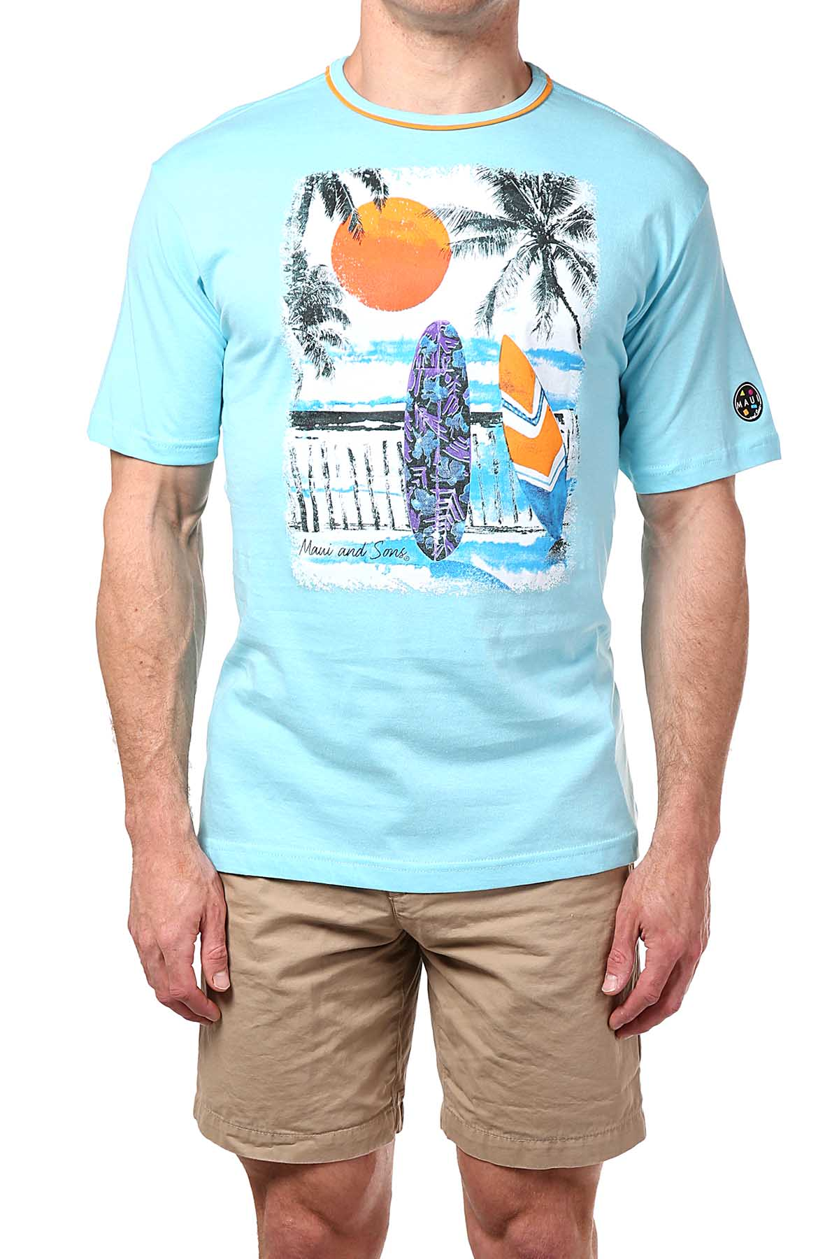 Maui and Sons Light-Blue Surfboard Tee
