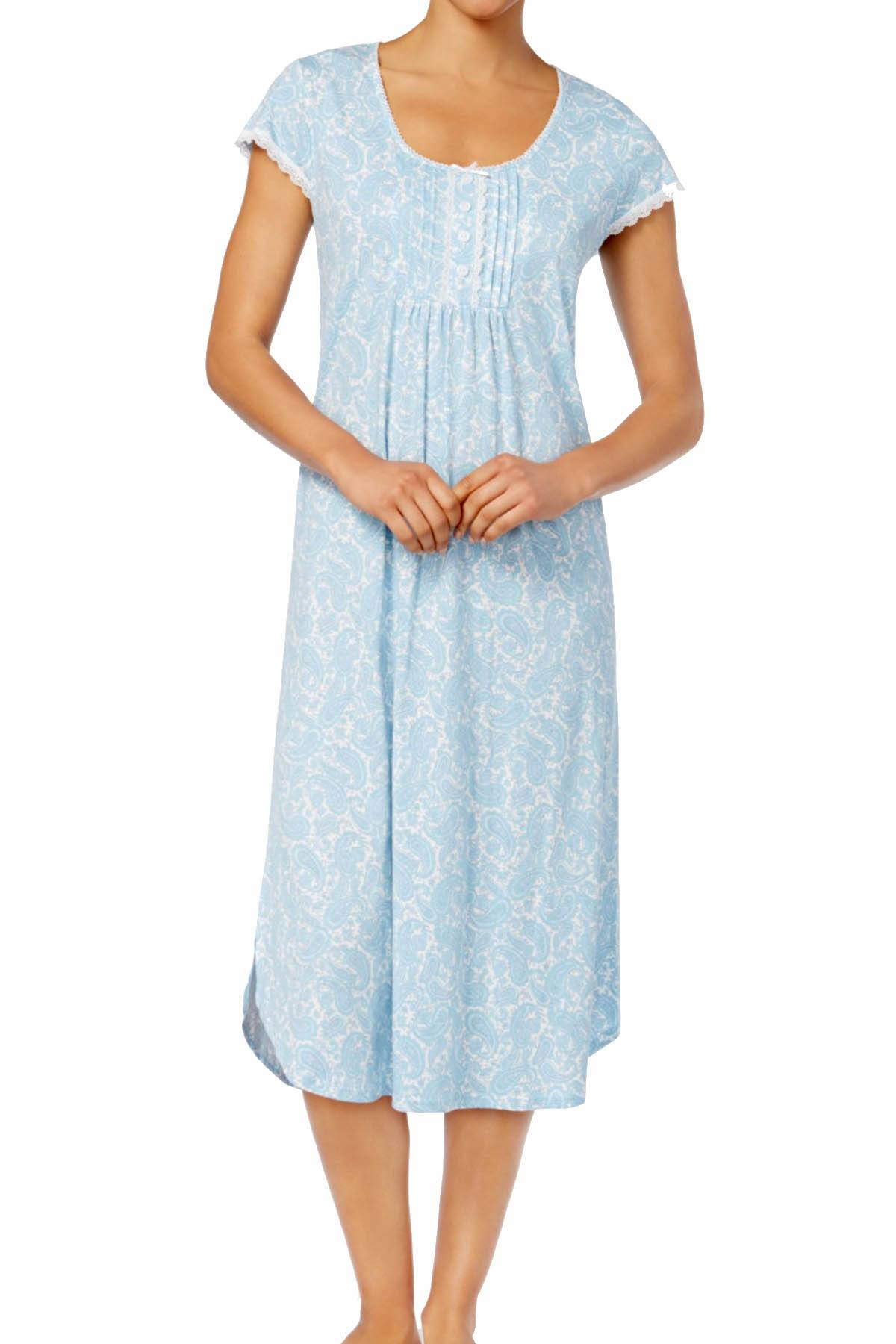 Miss Elaine Blue/Lavender Paisley-Print Tucked-Front Knit Nightgown