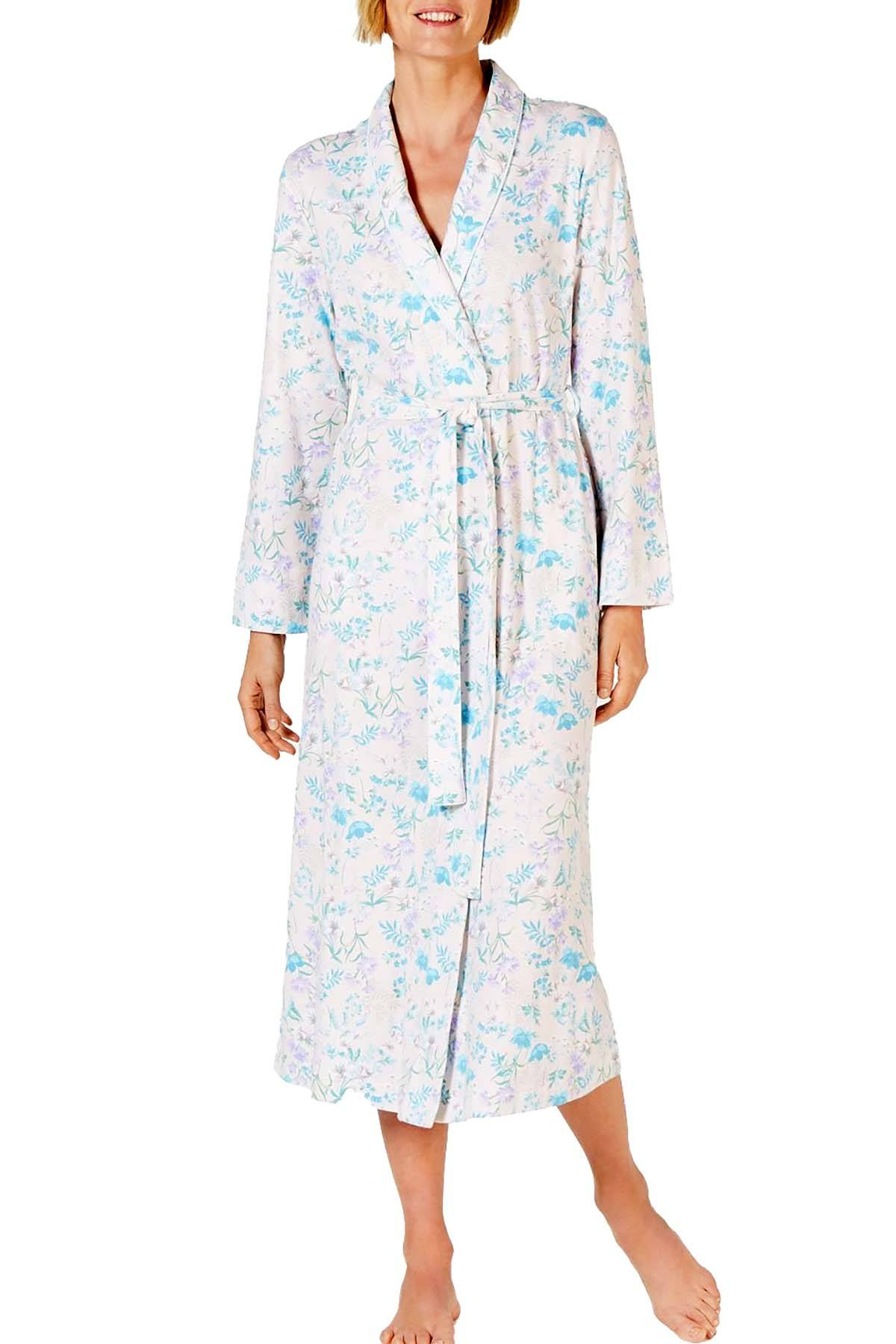 Miss Elaine Cottonessa Printed Long Sleeve Knit Robe in Botanical Floral