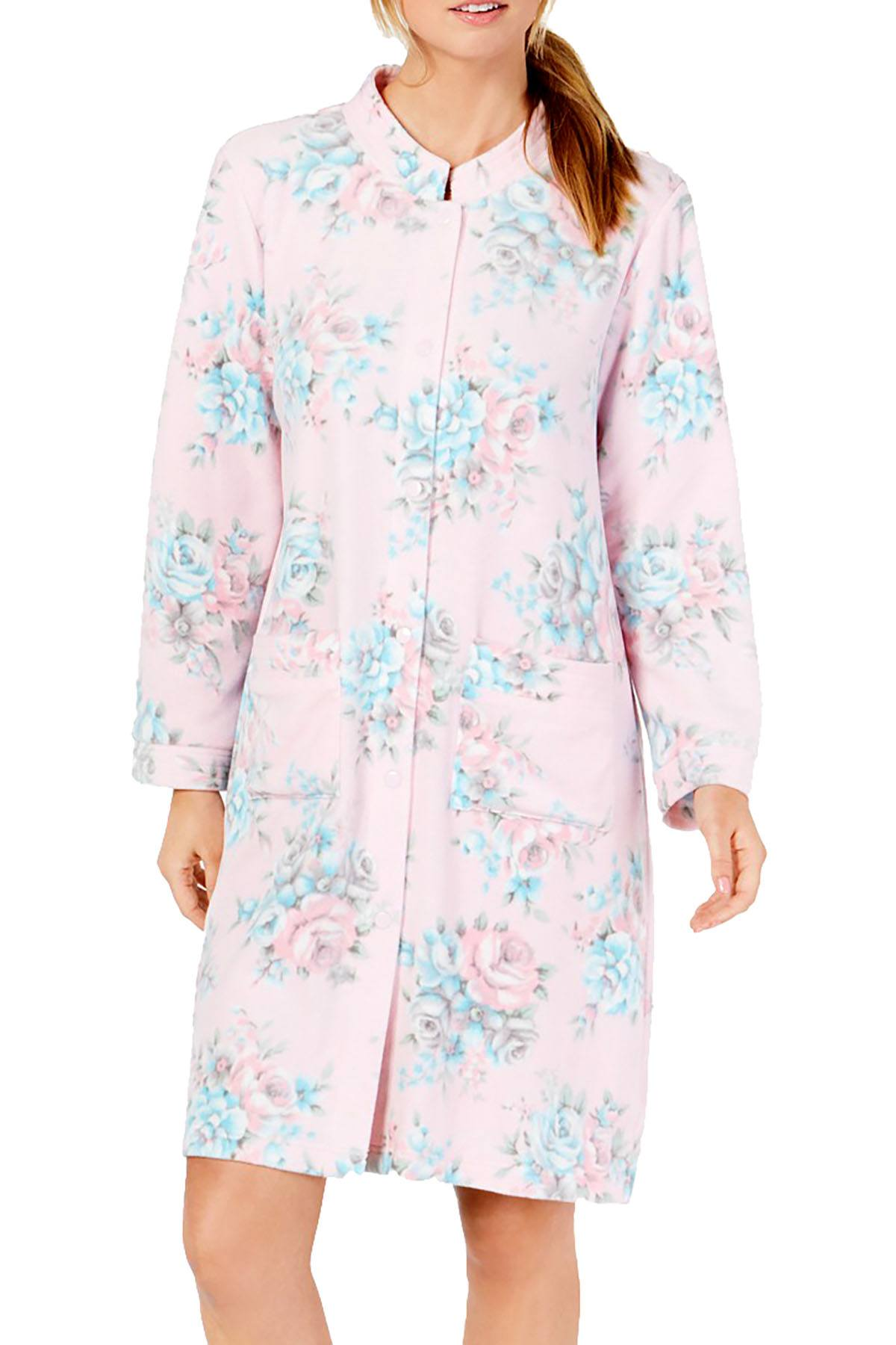 Miss Elaine Luxe Printed Brushed Fleece Short Snap Robe in Pink