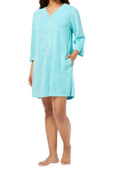Miss Elaine Mint Terry-Knit Short Robe