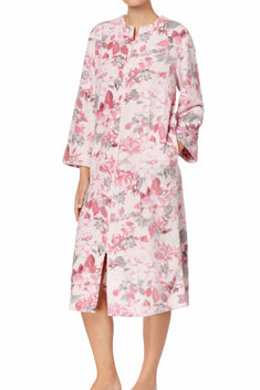 Miss Elaine Pink-Floral Petite Printed Fleece Robe