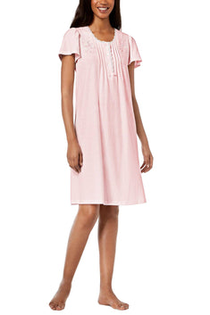 Miss Elaine Pink Texture Striped Embroidered Short Nightgown
