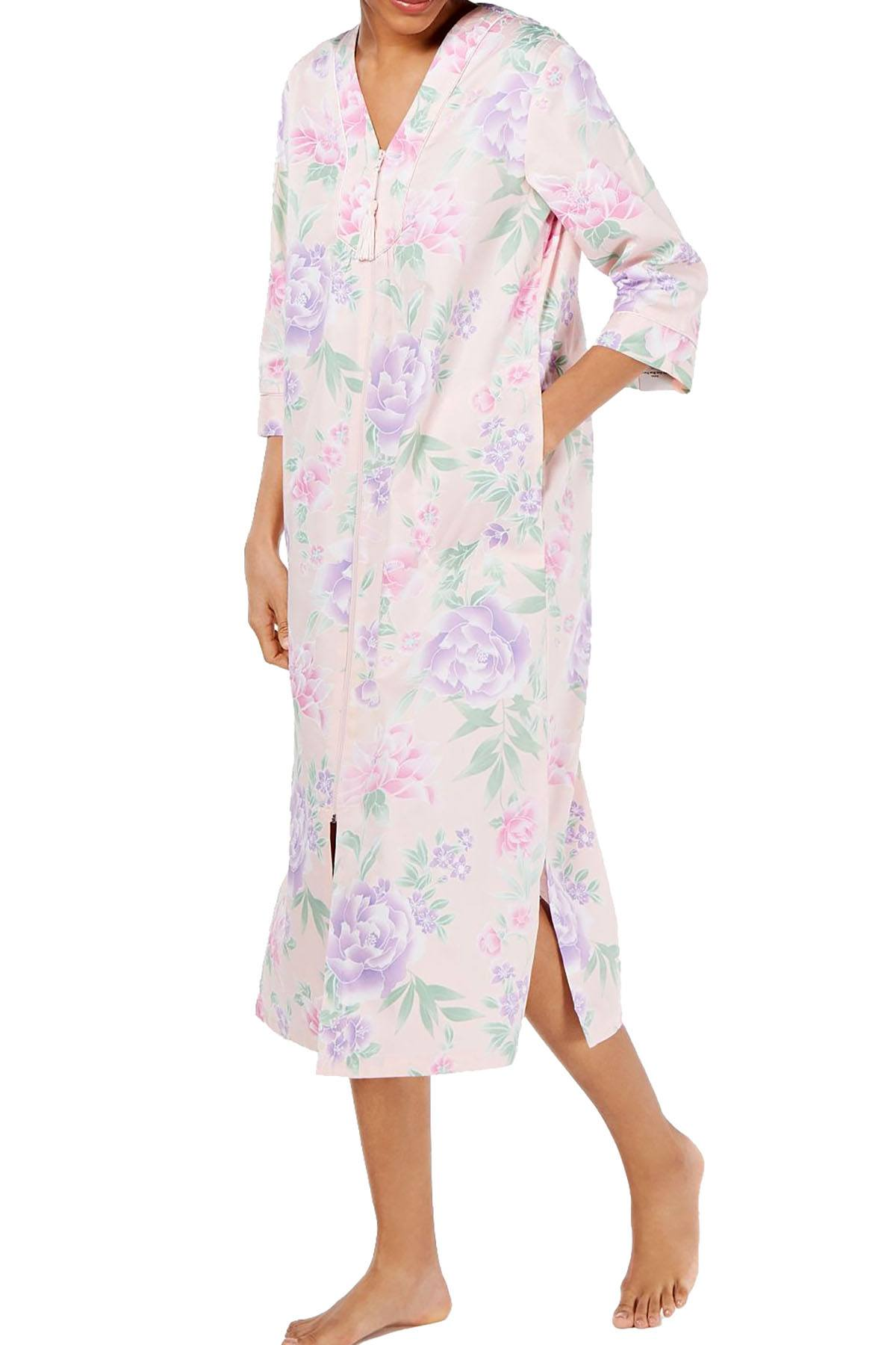 Miss Elaine Printed Cotton Sateen Long Zip Robe in Pink/Violet Floral