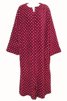 Miss Elaine Red/Pink Polka-Dot Long Fleece Zip-Up Robe