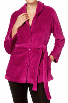Miss Elaine Vintage-Berry Solid Fleece Bed Jacket
