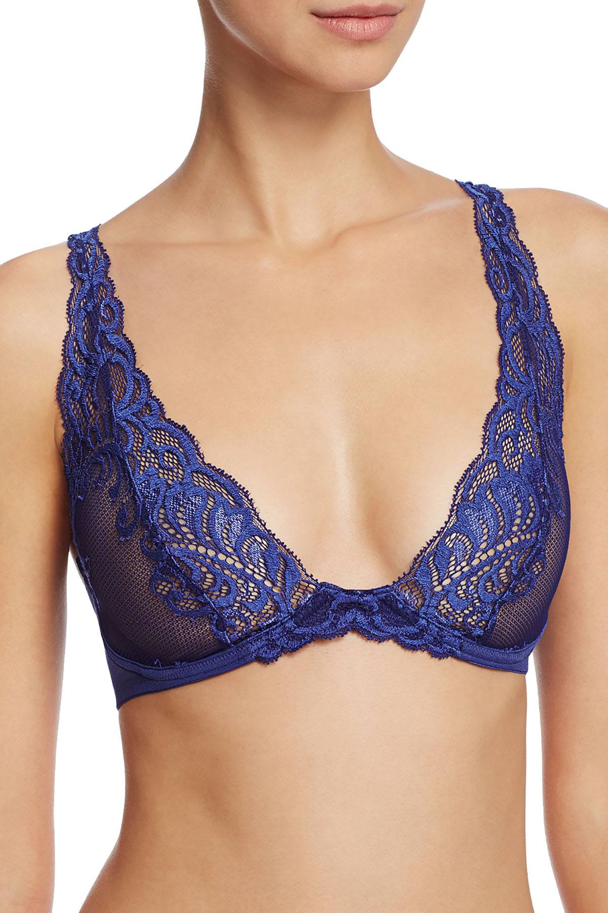 Natori Blueberry Feathers Feathers Wireless Sheer Lace Bra