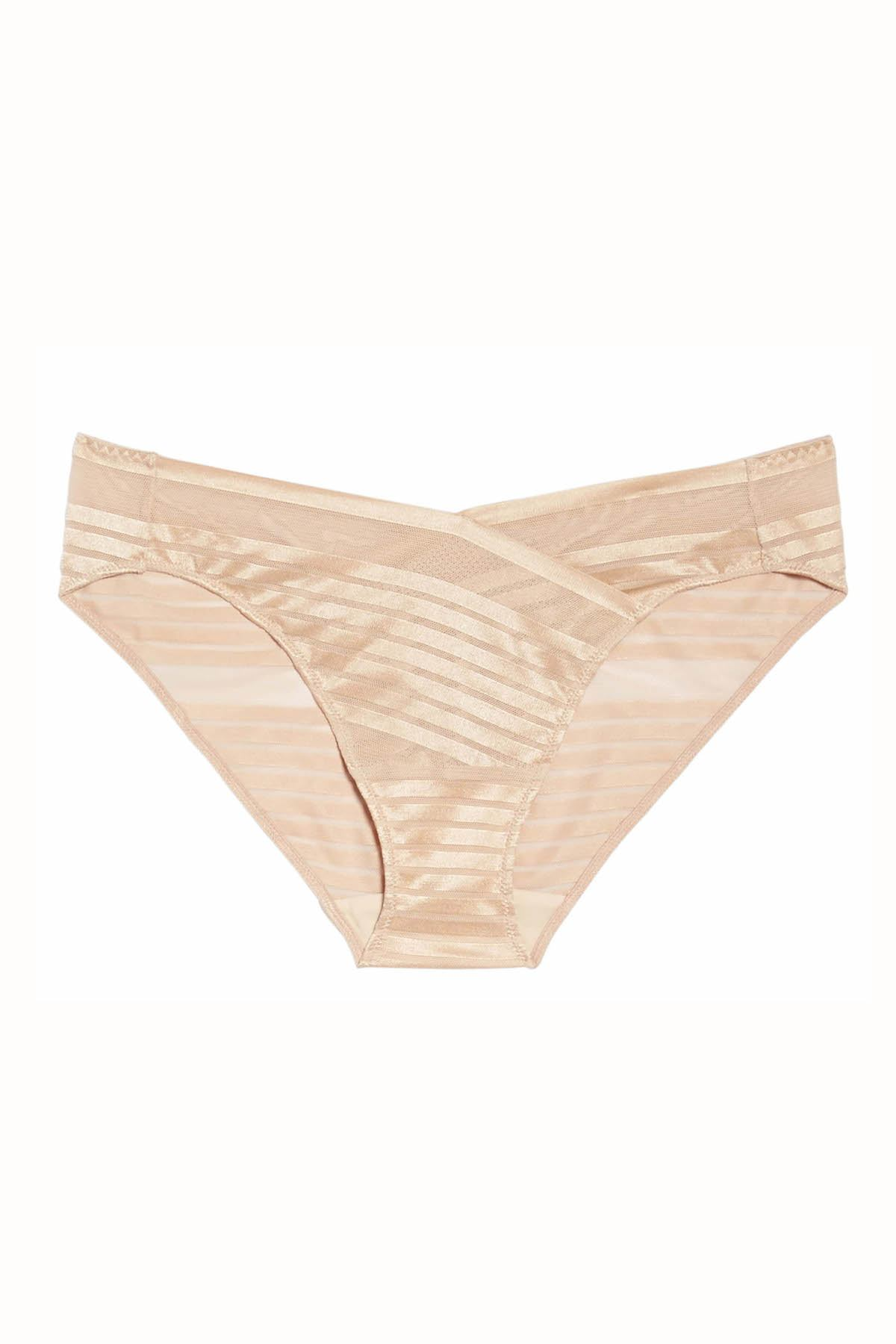 Natori Cosmetic-Beige Precision Low-Rise Stretch-Mesh Bikini Brief