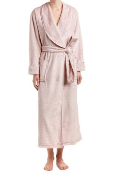 Natori Dusty-Rose Plush/Satin-Twill Robe