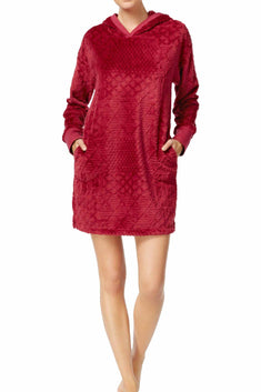 Nautica Burgundy Plush Textured Hooded Lounge Dress