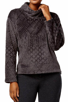 Nautica Charcoal-Grey Plush Textured Lounge Top