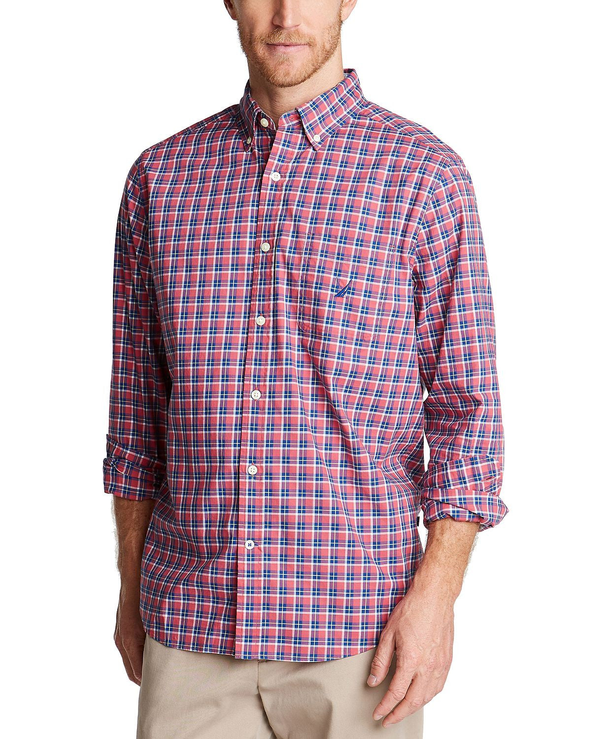 Nautica Classic-fit Blue Sail Casual Plaid Shirt  Lt/pas Red