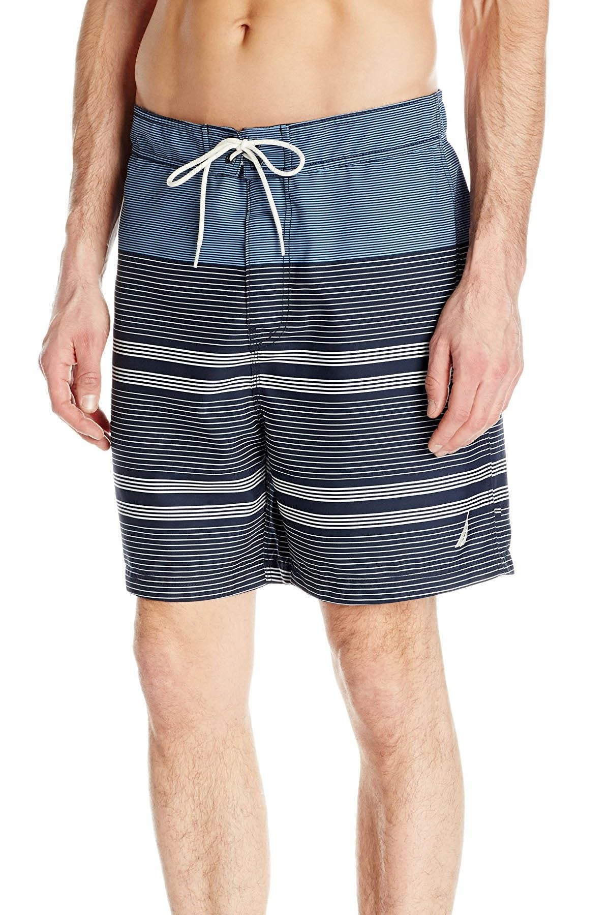 Nautica Della-Robbia-Blue Quick Dry Engineered Striped Swim Trunk
