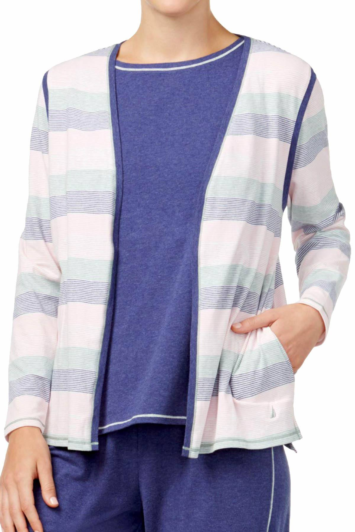 Nautica Multi-Stripe Brushed-Jersey PJ Cardigan