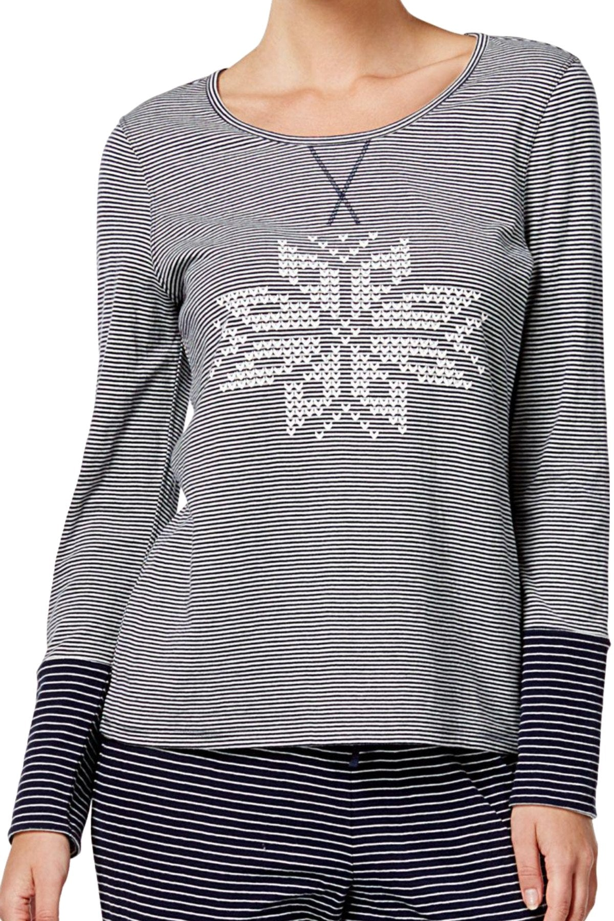 Nautica Navy Stripe/Snowflake Reversible Lounge Top