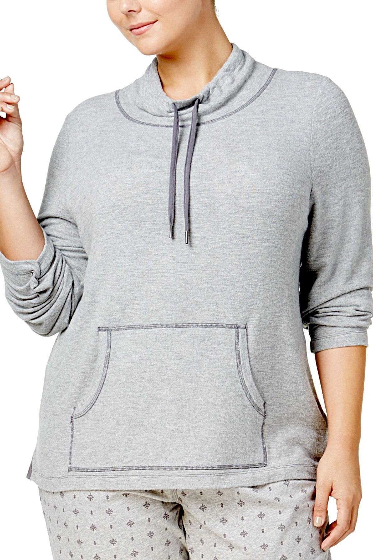 Nautica PLUS Heather-Grey Cowl-Neck Knit Lounge Top