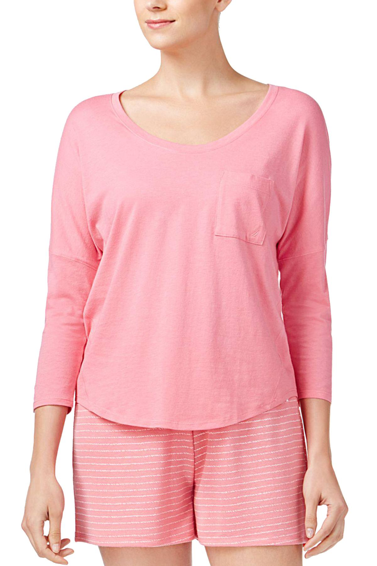 Nautica Pink Dolman Pocket Lounge Top