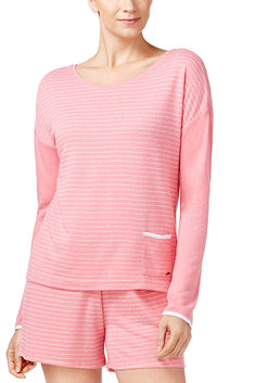 Nautica Pink-Stripe French-Terry Lounge Top