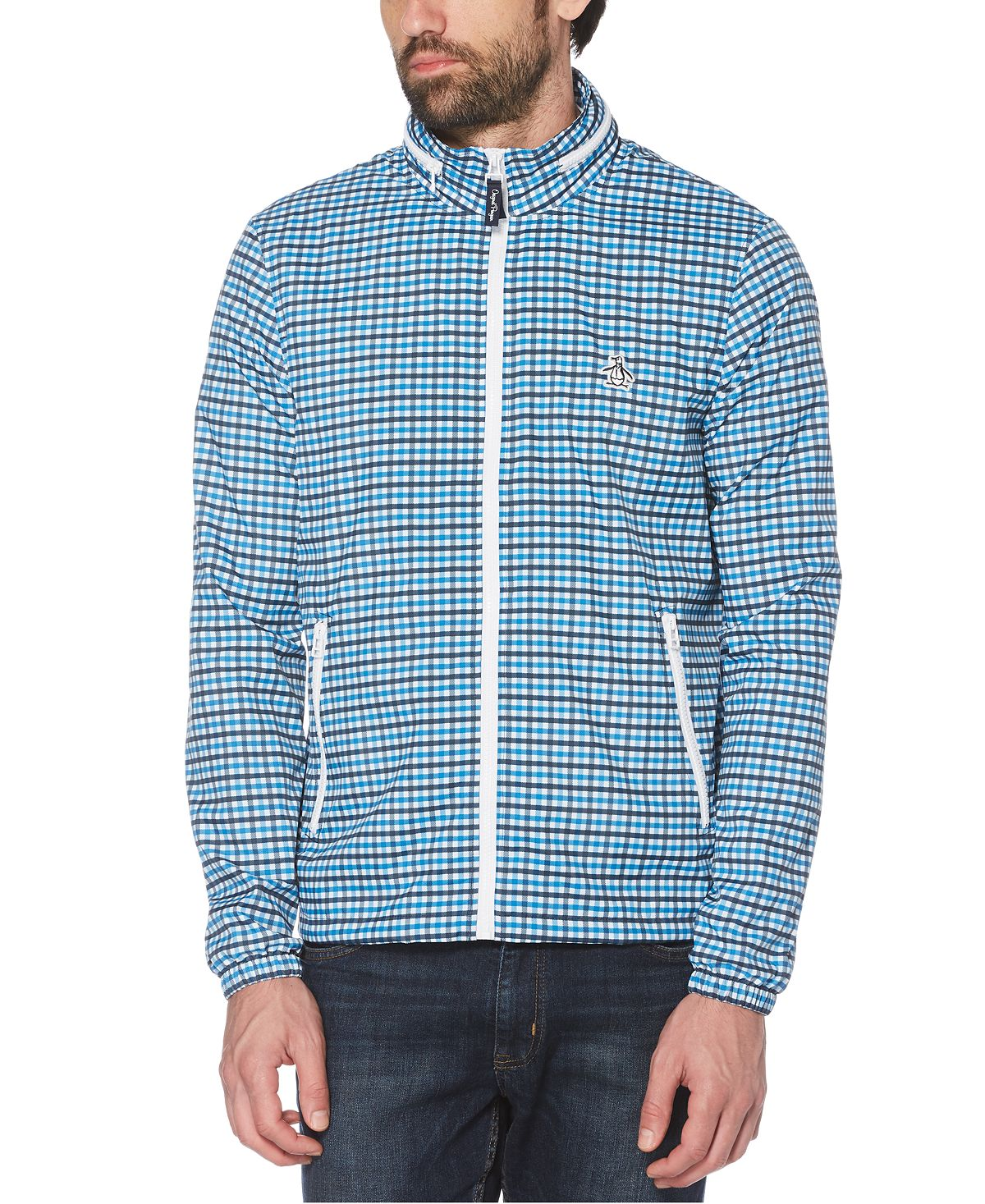 Original Penguin Tattersall Check Water-resistant Windbreaker With Zip-out Hood Dark Sapphire