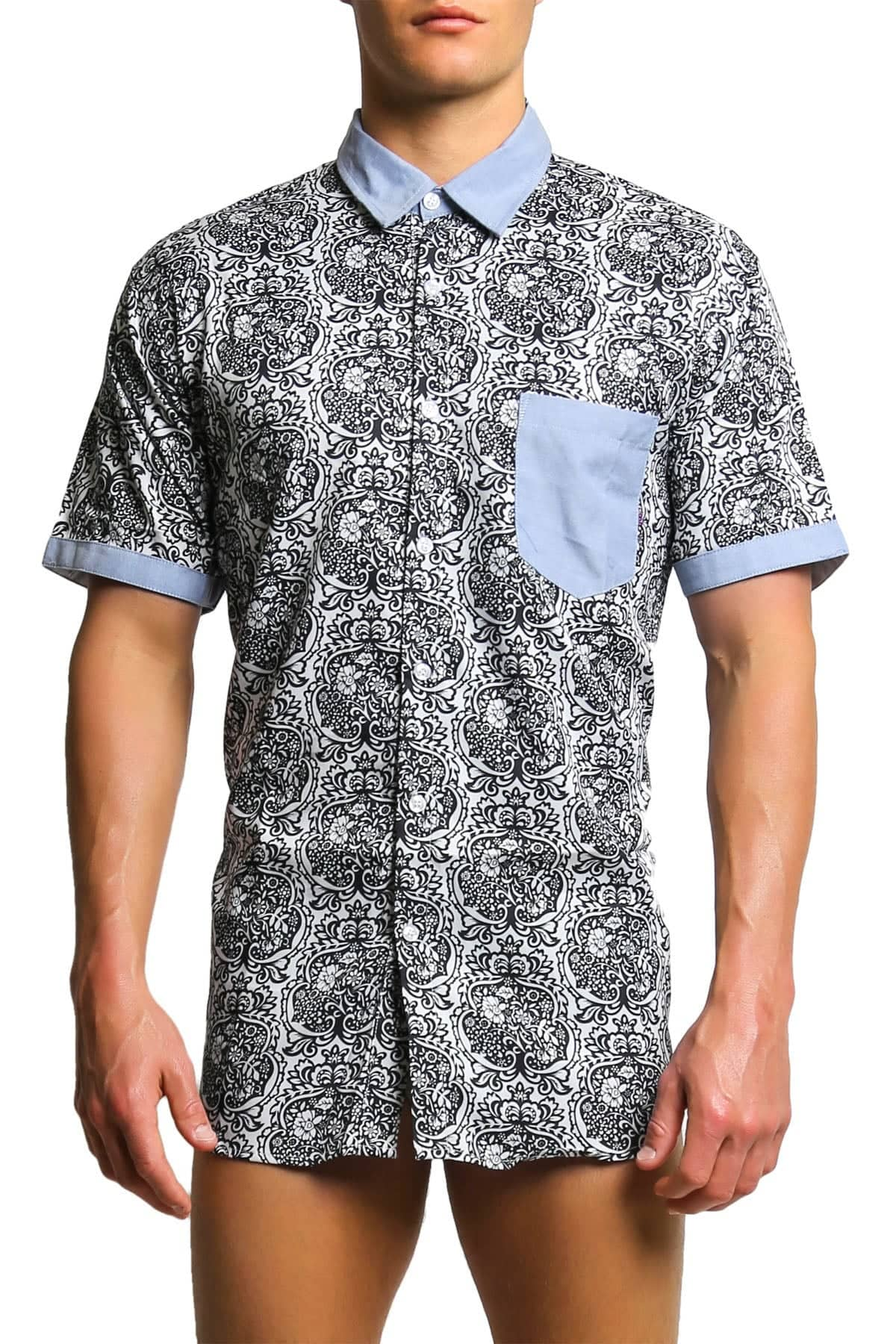 Oxymoron Blue Happily Marrie Button-Up