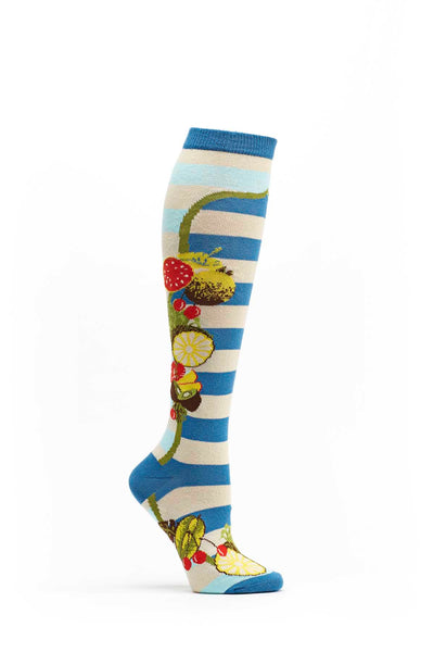 Ozone Blue Fruit Frame Knee High Sock