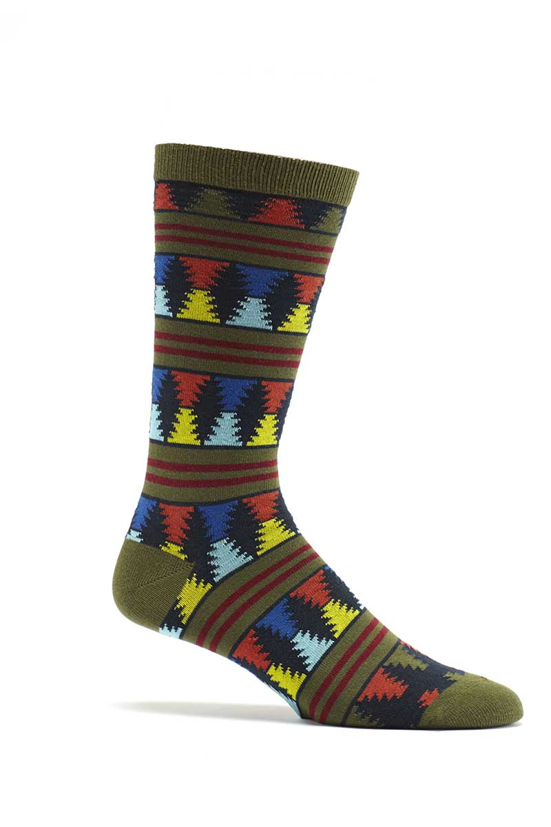 Ozone Green Moore Stripes Crew Sock