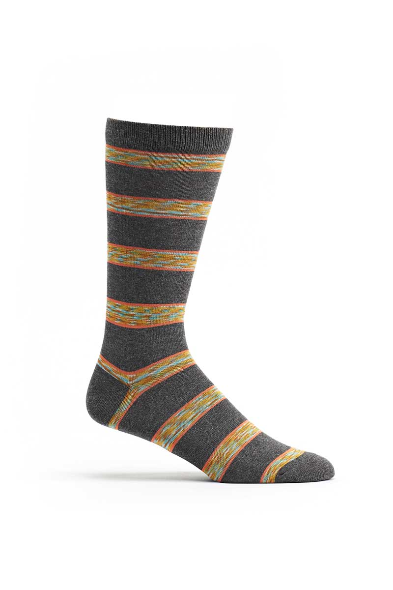 Ozone Grey Space Dye Stripe Crew Sock
