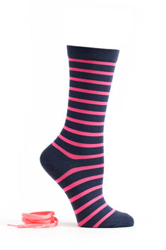 Ozone Navy/Coral Striped Sock w/ Laces
