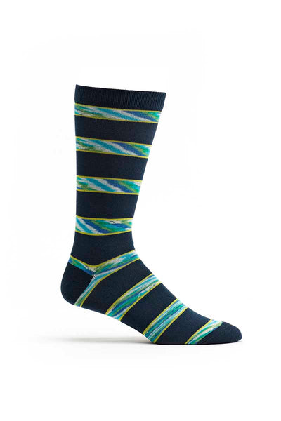 Ozone Navy Space Dye Stripe Crew Sock - CheapUndies.com