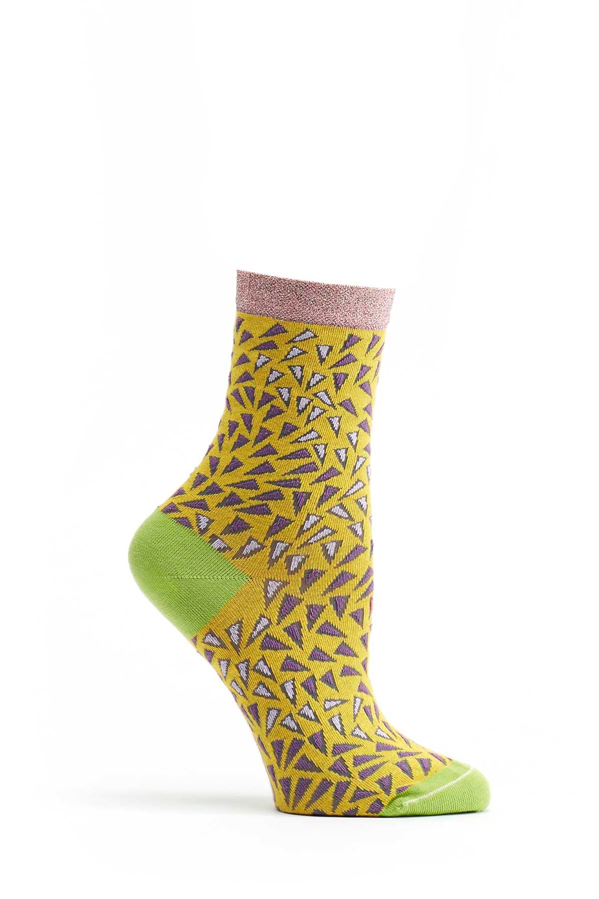 Ozone Sunflower Wavy-Printed Sock
