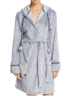 PJ Salvage Navy/Grey Blues-Traveler Faux-Fur Robe