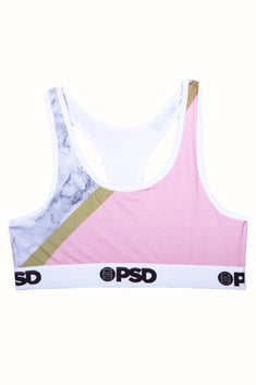 PSD Pink-Marble Sports Bra