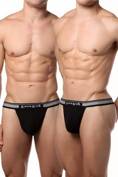 Papi Black Stretch Thong 2-Pack