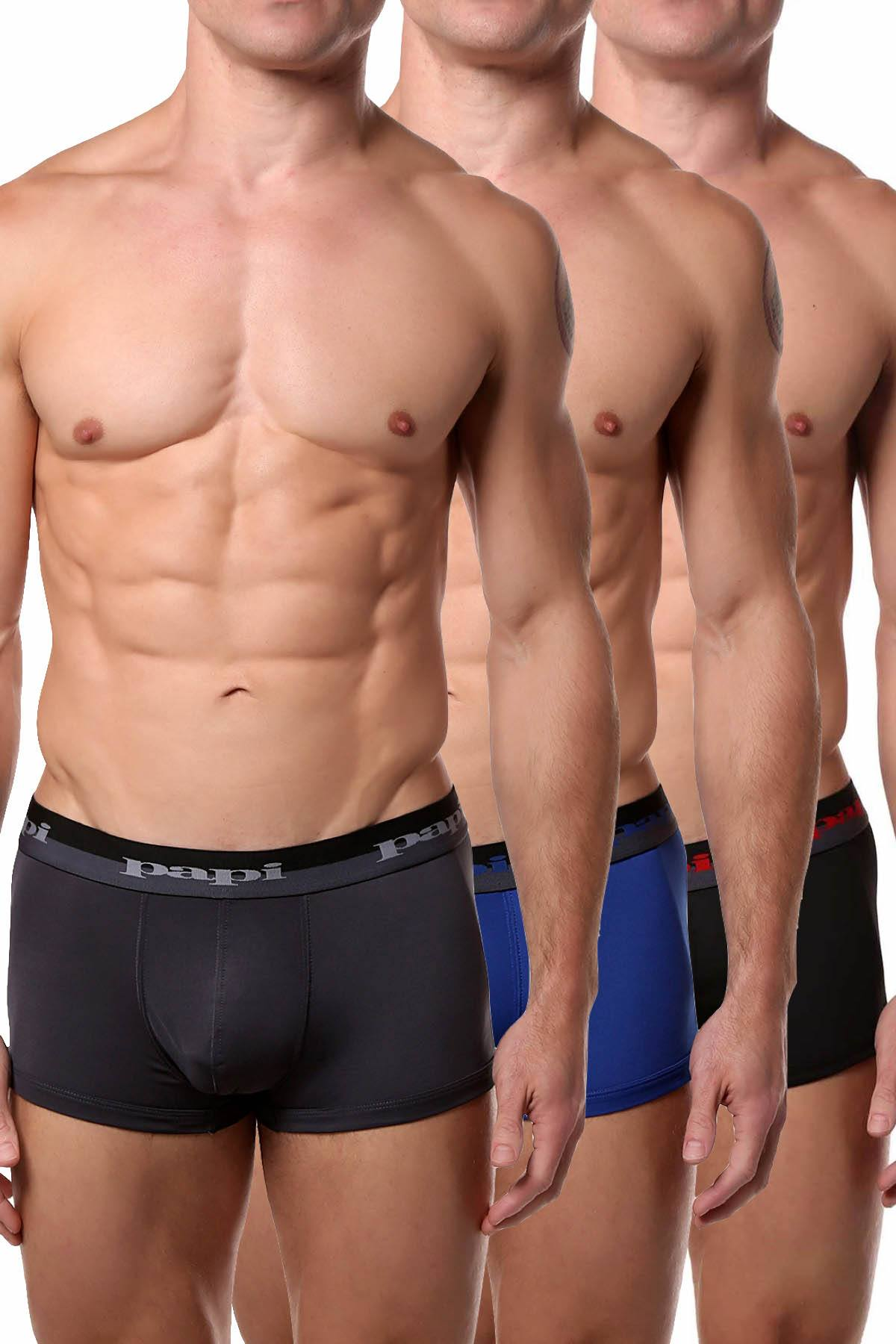 Papi Grey/Blue/Black Sport-Performance Trunk 3-Pack