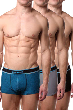 Papi Grey/Teal/Navy Film-Strip Brazilian Trunk 3-Pack