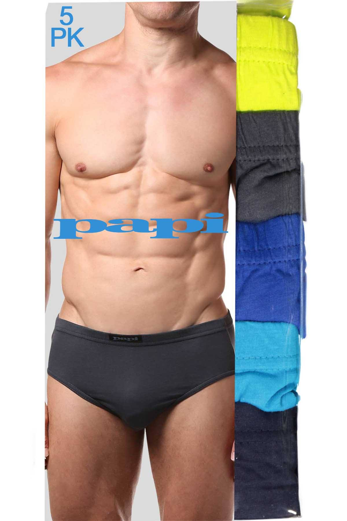 Papi Lime/Blue/Navy/Grey/Black Low-Rise Brief 5-Pack